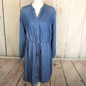 A New Day Size Women Shirt Dress Chambray Blue